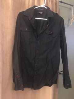 Black buttondown with red detail size L