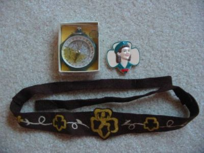 Antique 50s/60s Girl Scout Compass, Novelty Lapel Pin, Brownie Headban