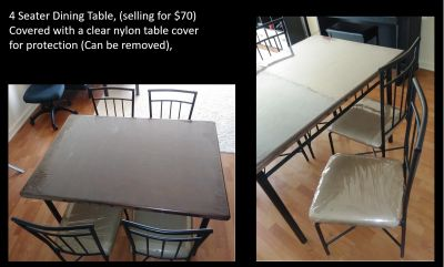 4 Seater Dining Table, with 4 Chairs