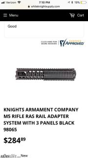 For Sale: Knights Armament M16/ AR-15 M5 hand guard.