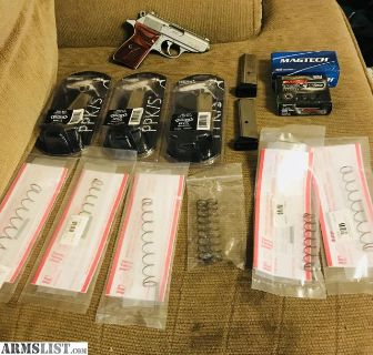 For Sale: Walther PPK SS Safe Queen Laminated Engraved Wood Grips 5 polished nickel mags in pckg 5 Wolf Precision Recoil different sizes with firing pin Springs In pckg 90rds 50 FMJ 20 HP