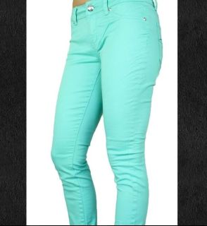 "2b bebe mint green jeans 29x27 denim slim fit seafoam women""s cropped"