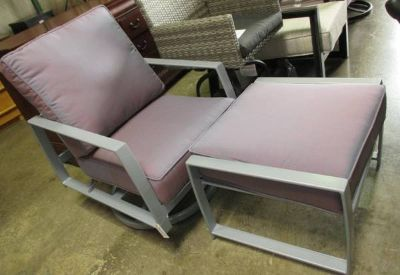 Memorial Day Sale - Mauve Outdoor Swivel Chair with Ottoman