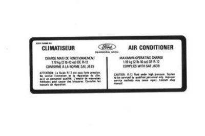 Buy 1987 1988 1989 FORD MUSTANG CLIMATISEUR AIR CONDITIONER CHARGE DECAL motorcycle in 28097 Locust, NC, US, for US $4.99