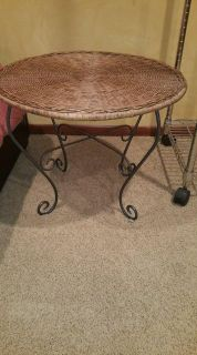Wicker Table with Metal Stand