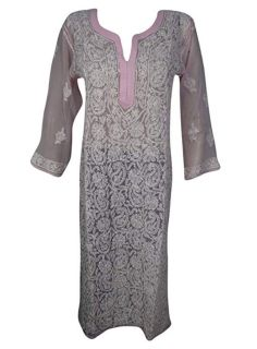 Women's Tunic Dress Pink Embroidered Georgette Kaftan