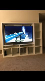 White IKEA tv stand with storage