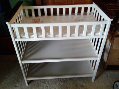 White changing table with pad