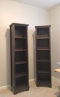 Brown wood tall and skinny bookshelf bookcase