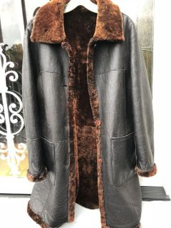 Natural leather shearling lined coat