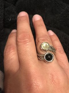 Silver ring with black and yellow stones