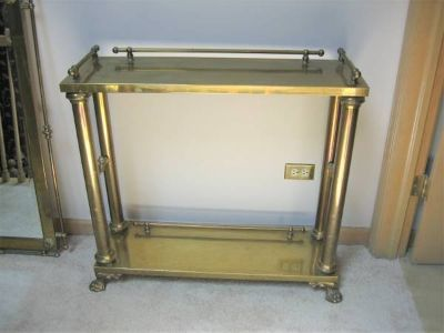 High Quality Brass & Glass Wall Table with Matching Mirror