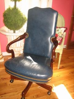 HANDSOME navy leather hancock & moore office rolling desk chair