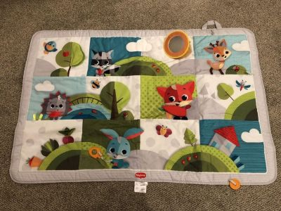 EUC large activity mat with sensory toys, teether and mirror! Folds up!