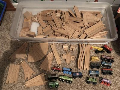 Large lot of wooden train tracks