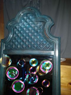 1970's faux wood Gothic Art Deco Night Stand & Mirror