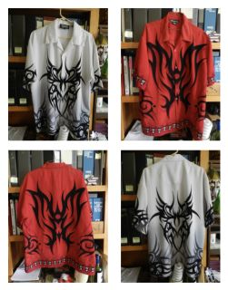 Two Dragon Design Motif shirts, poly-silky feel material.