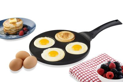4-Mold Nonstick Silver Dollar Pancake Pan With Induction Bottom