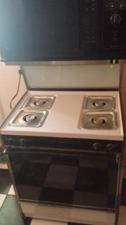 VINTAGE GAS STOVE W/ BUILT IN MICROWAVE