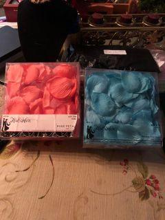 Blue & Coral Flower Petals