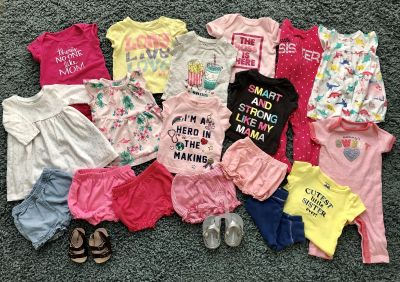 3 month girls lot! 18 clothing pieces and 2 NEW pair of sandals