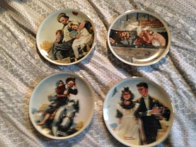 4 NEW Norman Rockwell plates