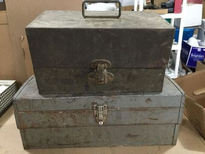 Lot of 2 Used Vintage Tool Boxes