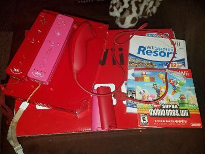 Red Super Mario Wii system with extras