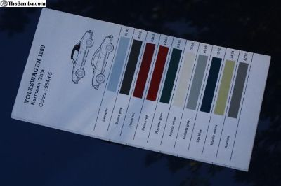 1964 1965 Ghia Beetle Color Chart