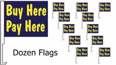 Find 12 Buy Here Pay BLUE Car Window Dealer Flags + POLES (twelve) FREE SHIPPING motorcycle in Castle Rock, Washington, United States, for US $59.95