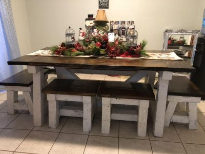 Homemade solid pine wood farmhouse table