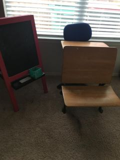Vintage Student Desk, Easel, and Chair