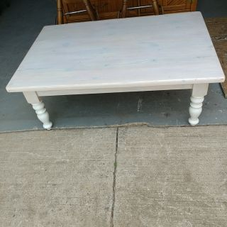Beautiful Solid Wood Whitewashed Coffee Table. 47x31x18