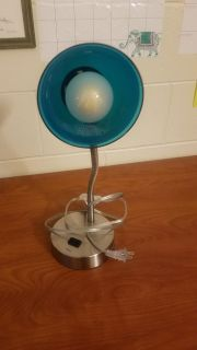 Silver and blue desk lamp