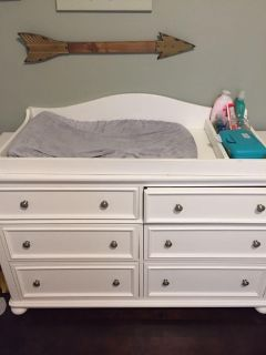 White Table Topper changing table pad included