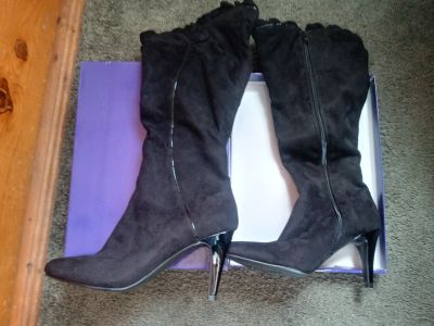 Black suede boots size 7.5