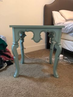 Light Blue Distressed Side Table