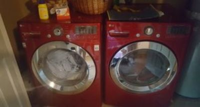 Red LG Electric Washer and Dryer