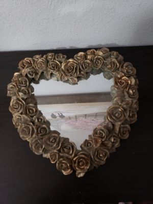 Beautiful Heavy Rose Wall Mirror Decor. Could Also Use As Perfume Tray!