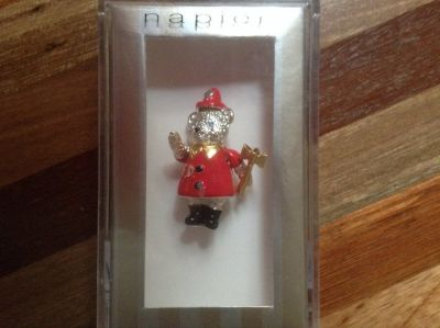 FireDepartment SIlver BEAR PIN Moveable Head, Arms & Legs by NAPIER Gift Boxed