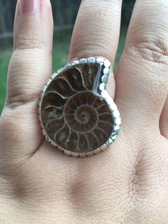 NWOT Large Ammonite Sterling Silver Ring