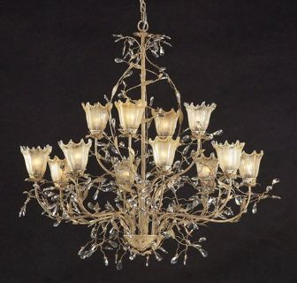 *RARE* ELK Lighting Circeo Vetro Collection 12 Light Rustic Shabby Chandelier