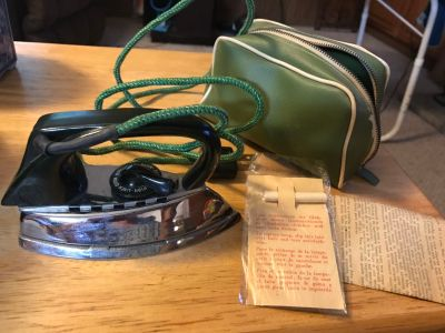 Antique AZN Travel Iron In Original Carrying Case, Papers and Accessories In Excellent Condition