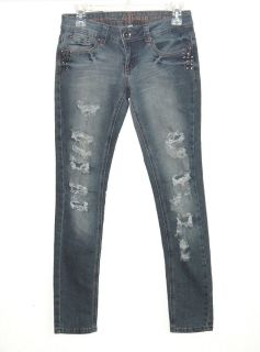 Dollhouse Destroyed STUDDED Skinny Denim Jeans Womens 3 Juniors Distressed
