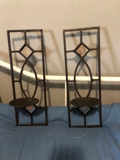 Set of 2 hanging metal wall sconces with mirrors