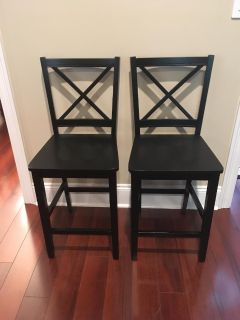 New Set of Two Counter Hieght Black Cross Back Wood Bar Stools