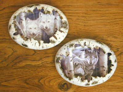 Two Bradford Exchange Forest Spirits Wolf Plates Wall Decor