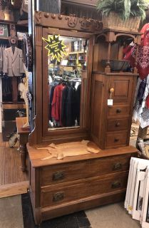 Beautiful Wood Hall Tree With Drawers and Mirror