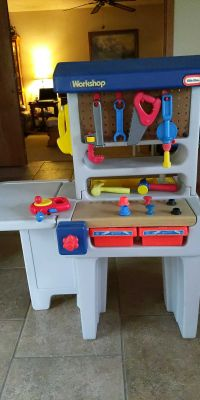 Vintage Little Tikes Child Size Combination Workbench/sink with fold out table