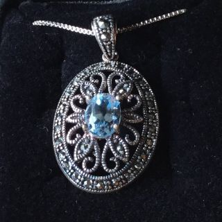 Marcasite and Blue Topaz Oval Pendant Sterling Silver Necklace Vintage Elegance